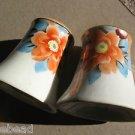 Vintage Noritake 2 Pc Salt Pepper Shaker Set HandPainted Japan Lustreware Flower