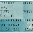 Pink Floyd Live Concert Tour May 11,1988 Used Ticket Stub Olympique Montreal