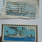 STEAMBOAT WALK IN THE WATER 1818 Stamp & LAPEL PIN USA 25 Cent