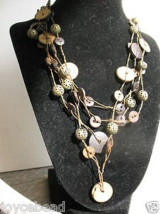"""Wood Nut  Buttons SWAG BIB Necklace 4 strands Brass beads 16"""" expands to19"""""""