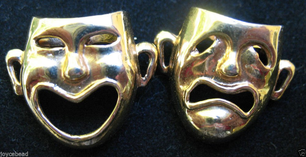 VINTAGE Gold Tone BROOCH PINs COMEDY & TRAGEDY THESPIAN MASKS THEATER ARTS