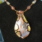 Gold Leaf Lampwork Statement Murano Glass Bead Pendant  Necklace Jungle Colors