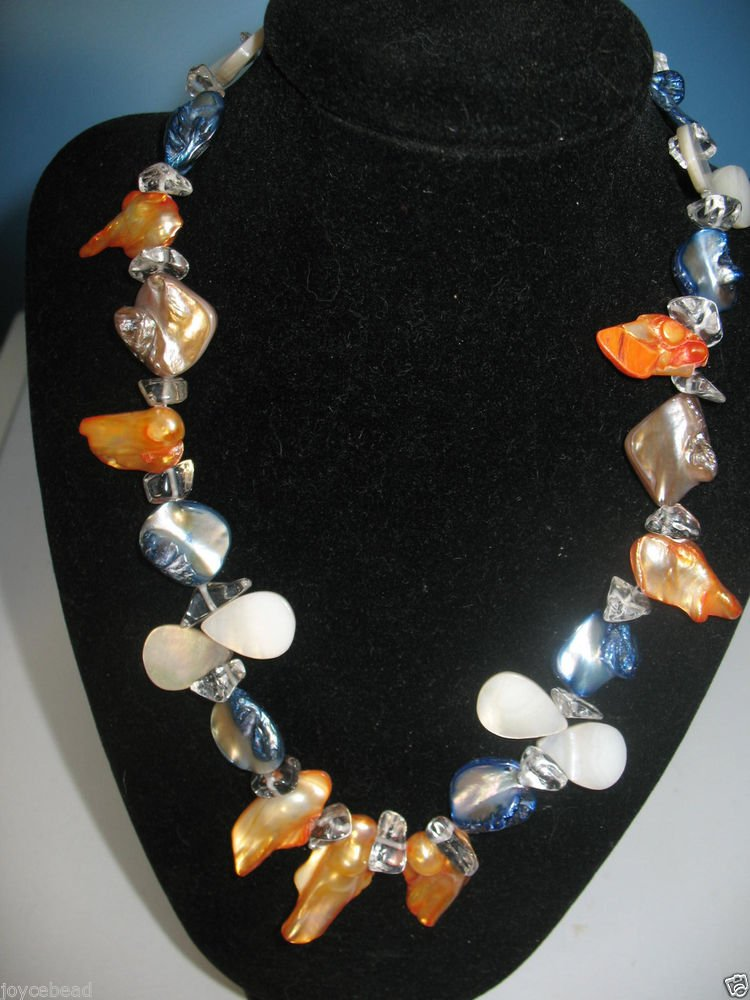 """Artisan Necklace Handmade Shell, Stone Fresh water Pearl Glass Blue Apricot 17"""""""