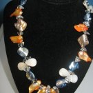 Artisan Necklace Handmade Shell, Stone Fresh water Pearl Glass Blue Apricot 17""