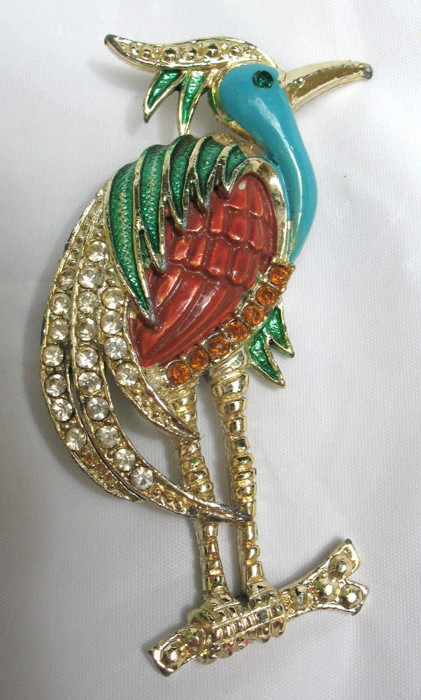 Goldtone w/ turquoise green coral enamel heron bird pin brooch rhinestones