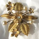 Vintage Austria Gold Toned Brooch Pin Flowers Leaves Faux Pearl Rhinestone