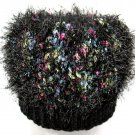 Black Fuzzy Hand Knit Winter Hat with Colors - Warm & Wooly