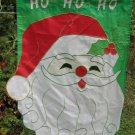 "Santa HO HO HO Applique Flag Merry Christmas Face Beard Hat Holly  28""x38"""