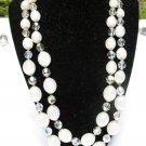 Vintage MARVELLA AB AURORA BOREALIS Glass Opal Crystal Necklace 2 strand