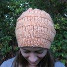 Slouch Hat Loose Slouchy Tam Beanie Beret Cap Hand Knit Women & Teen Girl peach
