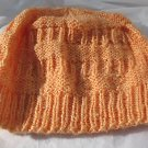 Cute Hand Knit Child Hat Cap 100% Acrylic Peach Orange Tiered Slouch