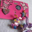 It's Happy Bunny Pins Crocheted  Easter Basket Pin Bunny Rabbit Lot Jim Benton