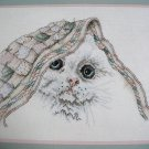 "Janlynn Counted Cross Stitch Kitty and Quilt Kit #80-78 14""x11"" White Cat Kitten"