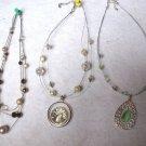 "3 Three Strand ILLUSION Necklaces 16""-18"" Green White Purple Statement Beads"