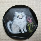 DOLLHOUSE MINIATURE HANDPAINTED TRAY - Black with White Cat - Adorable