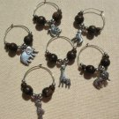 6 Zoo Wine Charms Wood & Pewter Giraffe Lion Zebra Monkey Parrot Elephant