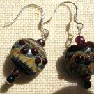 Bumpy Glass Swirl Lampwork & Crystal Beads Artisan 925 Sterling French Hooks
