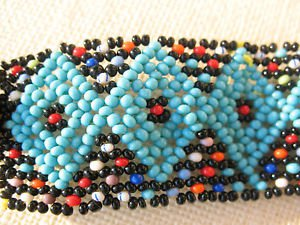 "Handmade cuff bracelet seed beads blue aqua red white SMALL 6"" Bead clasp Loom"
