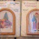 TWO Christmas Cross Stitch Kits SANTA & TEDDY Country Traditional Framed 6x4