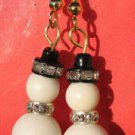 Snowman Earrings Handmade Beaded Christmas Holiday Fashion Gold Tone Sparkle
