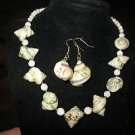 Natural Sea Shell Necklace & Pierced Earrings Goldtone Choker GOLD edges Sprial