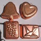"4 Copper Tin Mini Bundt Pans 3""  4oz Jello Jell-o Cake Tart Molds Heart"