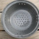 """Vintage Blue Gray Enamelware Marble Graniteware Colander Strainer 10"""" wide"""