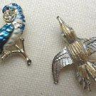 Vintage Gold Tone green blue enamel PARROT BIRD rhinestone Brooch Pin lot 2 PINS