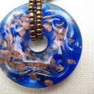 BLUE BEAD ROUND DISK NECKLACE w/ Copper Sparkles Black Beaded  Lampwork Pendant