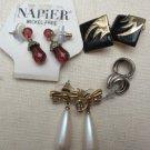 4 Pairs Pierced Earrings gold silver tone Pearl Dangle Black Enamel Napier Monet