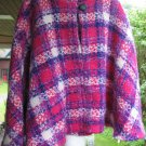 VINTAGE PLAID WOOL BLEND PONCHO CAPE Pink Purple Cream Handsewn OOAK Soft Warm