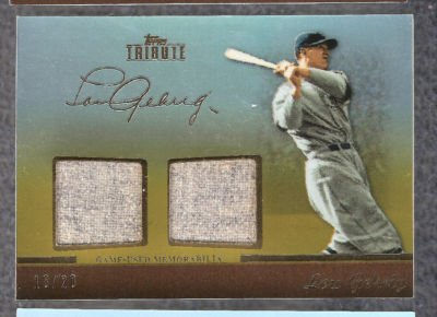 2011 LOU GEHRIG TOPPS TRIBUTE GOLD DUAL JERSEY RELIC CARD 18/20!