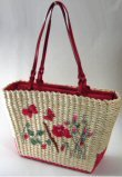 Woven Straw Handbags with Front Rose & Butterfly Design
