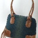 Denim Handbags with Faux Leather Trim