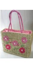 Extra Large Woven Straw Double Strap Handbags with Front Flower Design