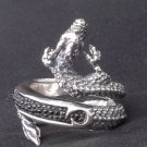 925 SILVER STINGRAY DRAGON KING BIKER RING SZ N to Z3