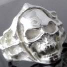 Silver Plated Skull Bone Flame Biker Rebel Ring SZ R 1/2, T 1/2, V 1/2 = 9,10,11