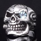 925 STERLING SKULL PIPE TOPAZ CHOPPER RING sz N to Z3