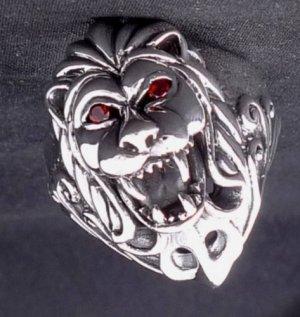 925 STERLING SILVER LION COUGAR CHOPPER BIKER KING RED GEMSTONE RING SZ N to Z3