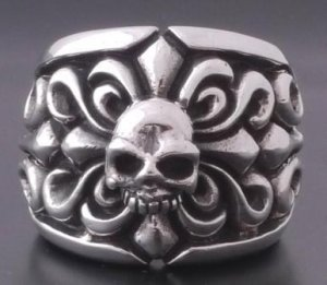 925 STERLING SILVER SKULL FLEUR ROCKSTAR TRIBAL BIKER CHOPPER RING SZ N to Z3