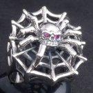 925 SILVER IRON SPIDER BIKER GEMSTONE KING RING SZ N-Z3