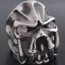 925 SILVER ELITE GEM EYE SKULL CHOPPER BIKER RING sz S