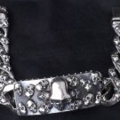 "FANCY SKULL YARD 925 STERLING SILVER SOLID HEAVY BIKER CHOPPER BRACELET 7"" to 9"""