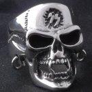 925 STERLING SILVER CUSTOM PIERCED SKULL JAW BIKER KING CHOPPER RING sz N to Z3