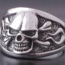 925 Silver Skull Bone Flame Biker Rebel Ring SZ V 1/2