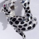925 STERLING SILVER LEOPARD BLACK ENAMEL LADIES RING SZ  N 1/2, O