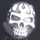 925 Sterling Silver Skull Flame Jaw Biker Chopper Rebel Ring sz N to Z3