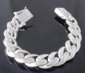 "FANCY 925 SILVER PLATED SMOOTH LINK BIKER LADIES / MAN'S BRACELET 7.4"" / 7.9"""