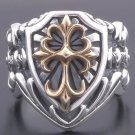 925 SILVER GOTHIC CROSS MEDIEVAL TRIBAL BIKER RING sz N to Z3 / US sz 7 to 15