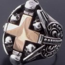 925 STERLING SKULL HEART CROSS CHOPPER RING SZ N to Z3 / US sz 7 to 15